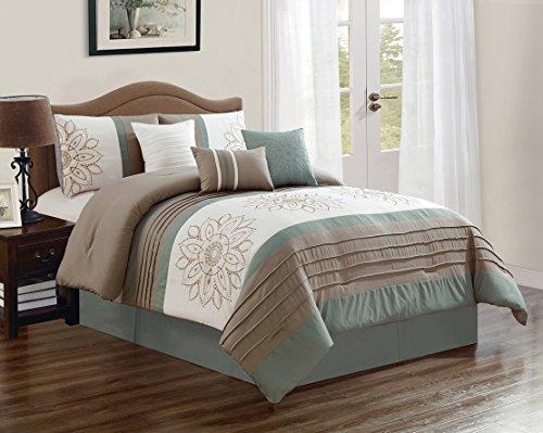 JBFF 7 Piece Oversized Luxury Embroidery Bed in Bag Microfiber Comforter Set (Sage, Queen) ()