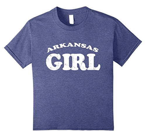 - Kids Arkansas Girl Cute Retro Vintage Style Distressed T Shirt 8 Heather Blue