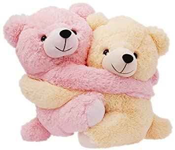 Dimpy Stuff Cuddly Pink and Cream Bear Couple Soft Toy, Pink