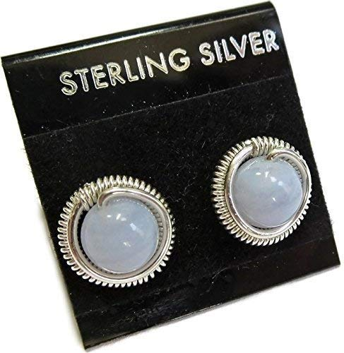 Blue Lace Agate & Sterling Silver Coiled Stud Post Earrings