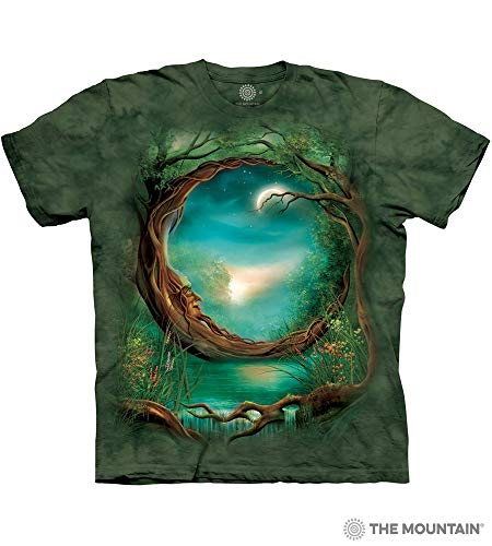 The Mountain Moon Tree Adult T-Shirt, Green, Large