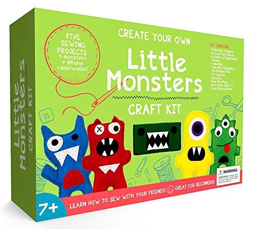 CraftLab Little Monsters Beginners Sewing Craft Kit for Kids (Ages 7 to 12) (Sew Kids Boys Short)