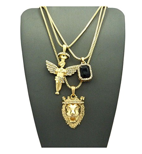 MENS HIP HOP ICED OUT ANGEL LION RED RUBY ONYX BLUE GREEN PENDANT 3 CHAIN NECKLACE (Black stone)