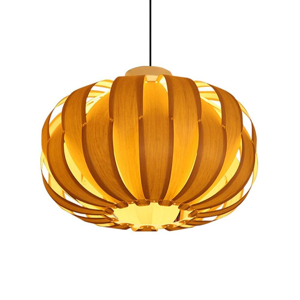 H.Q 牧歌的なペンダントライトモダンウッドシャンデリアクリエイティブパンプキン天井照明用リビングルーム寝室バーカフェ   B07TRCXXF1