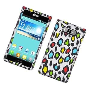 LG Splendor US730 White Rainbow Leopard Skin Cover Case