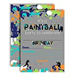 Paintball Themed Birthday Party Invitations, 20 5''x7'' Fill in Cards with Twenty White Envelopes by AmandaCreation