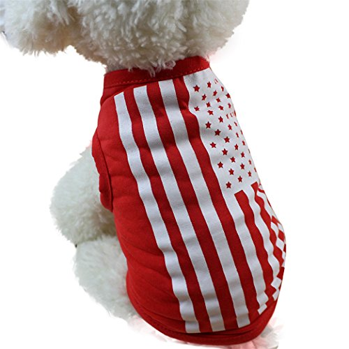 Price comparison product image Goodtrade8 4th July Cute Dog Vest American Flag Small Puppy Pet Summer Apparel Clothing (S,  Red)