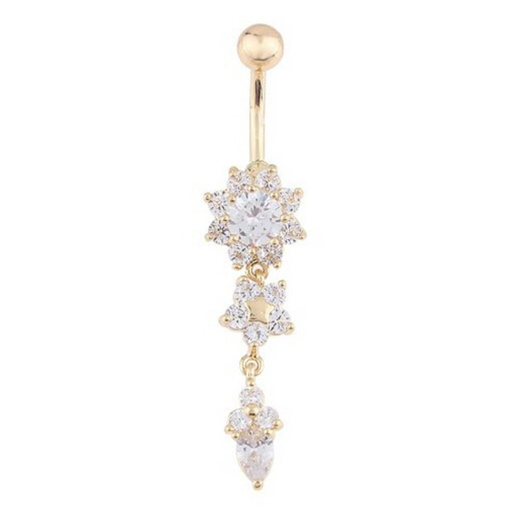RAINED Crystal Ring Body Dangle Ball Barbell Bar Belly Button Navel Ring (Gold)
