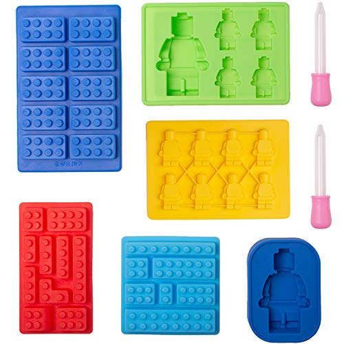 Xieda 6 Pieces Building Block Trays Tools Robot Silicone Trays Ice Cube Tray Candy Chocolate Trays with 2 Droppers for Kids Party Cake Decoration