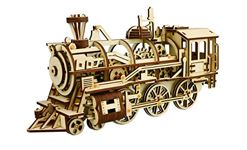 DIY 3D Wooden Puzzle Laser-Cut Mechanical Wind-Up Puzzle Model Kit, Premium Quality Wood, Non-Toxic and Safe. (Locomotive)