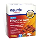 Equate - Nicotine Polacrilex Gum 2 mg, Coated, Cinnamon Rush Flavor, 100 Pieces