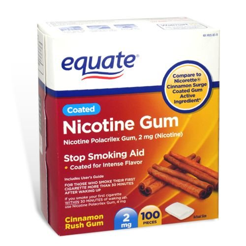 Equate - Nicotine Polacrilex Gum 2 mg, Coated, Cinnamon Rush Flavor, 100 Pieces
