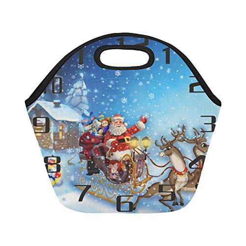 - Insulated Neoprene Lunch Bag Santa Claus Sleigh Reindeer Large Size Reusable Thermal Thick Lunch Tote Bags For Lunch Boxes For Outdoors,work, Office, School