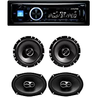 Alpine CDE-143BT Advanced Bluetooth CD Receiver With Alpine SPS-610 SPS-619 6.5 And 6.9 Front And Rear Speaker System