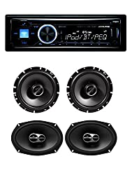 Alpine Cde-143bt Advanced Bluetooth Cd Receiver With Alpine Sps-610 Sps-619 6.5'' & 6.9'' Front & Rear Speaker System