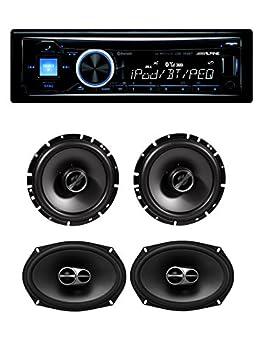Alpine Cde-143bt Advanced Bluetooth Cd Receiver With Alpine Sps-610 Sps-619 6.5'' & 6.9'' Front & Rear Speaker System 0