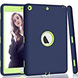 Hocase iPad 5th/6th Generation Case, iPad 9.7 2018/2017 Case, High-Impact Shock Absorbent Dual Layer Silicone+Hard PC Bumper Protective Case for iPad A1893/A1954/A1822/A1823 - Navy Blue/Lime Green
