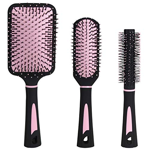 NVTED 3 PCS Hair comb Set, Massage Paddle Round Brush Hair Brushes Set with Cushion Base for Managing Curls Any Hair Type including Wigs Extensions or Weaves