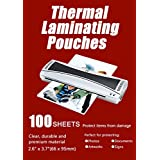 "Halcent 2.6""x3.7"" Business Card Laminating Pouches, 5 mil Card Laminator Pouches Sheets, Glossy Laminate Pouch 100-Pack"