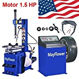 Mayflower - 1.5 HP Tire Changer Wheel Changers Machine Balancer Rim Clamp Combo 460 680