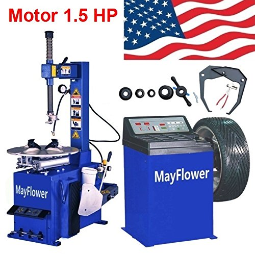 Mayflower - 1.5 HP Tire Changer Wheel Changers Machine Balancer Rim Clamp Combo 560 680/1 Year Full Warranty (Best Tire Balancing Machine)