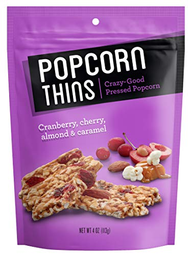 Popcorn Thins All-Natural Snacks (Cranberries, Almonds, Cherries & Caramel, 4oz, Pack of 8) (Almond Tart And Cherry)