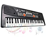 LYBALL 49-Key Kids Keyboard Piano LED Display Electronic Rechargable Piano Keyboard with Microphone Multi Functional Piano for Kids 20.86 Inch (Black)
