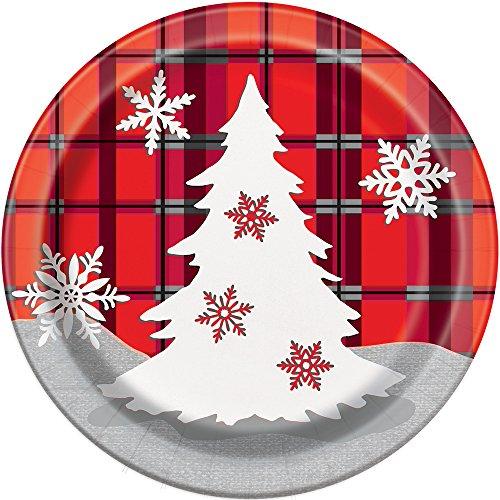 Rustic Plaid Christmas Paper Cake Plates, 8ct (Christmas Dessert Paper Plates)