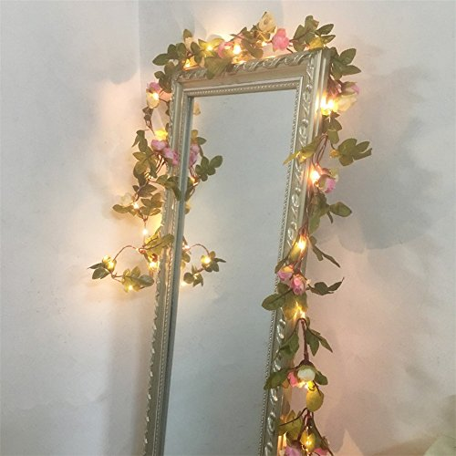 2 Meter 20 LED Flower Leaf Garland Battery Operate Silver LED Fairy String Lights For Wedding Decoration Party Event