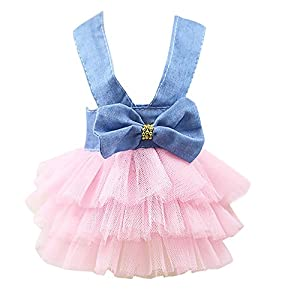 Lace Tutu Dress Smdoxi Pet Dog Bowknot Princess Clothes Pet Only for Small Dog (L, 58-Pink)