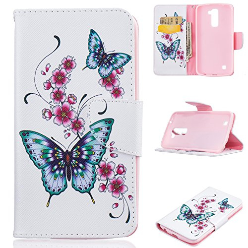LG K10 Case, Firefish Kickstand Flip Folio Synthetic Leather Wallet [Shock Absorption] [Scratch Proof] Magnetic Closure Case for LG K10 - Pink Watch Online Flamingos