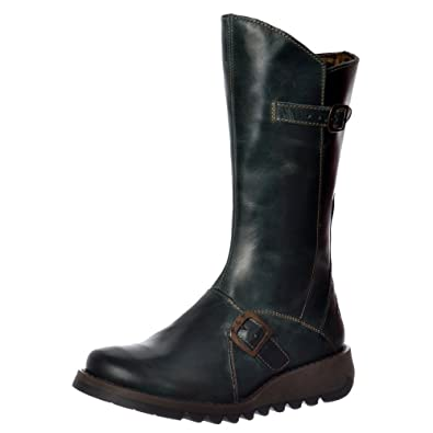 625deccb995 Fly London Mes 2 Petrol Leather Womens Mid Calf Boots