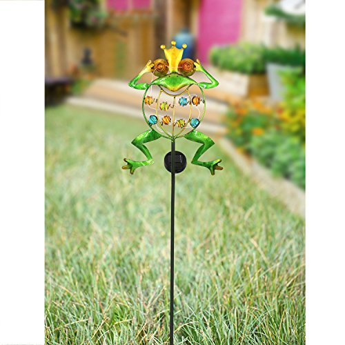 TAKE ME Garden Solar Lights Outdoor,Solar Powered Stake Lights - Metal OWL LED Decorative Garden Lights for Walkway,Pathway,Yard,Lawn (Frog.) by TAKE ME (Image #2)