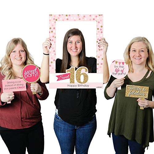 Big Dot of Happiness Sweet 16 - Birthday Party Selfie Photo Booth Picture Frame & Props - Printed on Sturdy Material