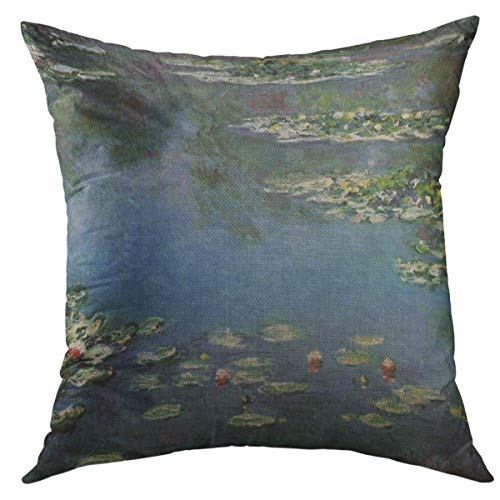 Mugod Decorative Throw Pillow Cover for Couch Sofa,Floral Lily Waterlilies By Claude Monet Vintage Gardens Home Decor Pillow case 18x18 Inch from Mugod