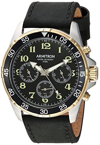 Armitron Men's 20/5220BKTTBK Multi-Function Dial Matte Black Leather Strap Watch