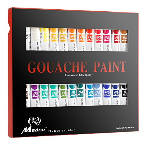 Madisi Gouache Paint Set - 24 Vivid Colors, 12 ML Tubes