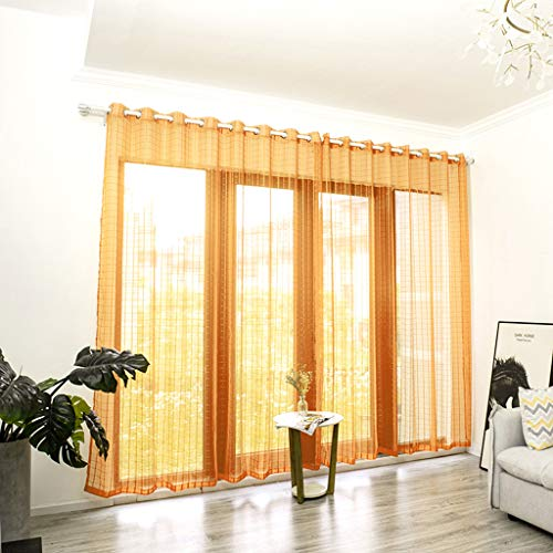 OrchidAmor Leaves Sheer Curtain Tulle Window Treatment Voile Drape Valance 1 Panel Fabric 2019 New Fashion