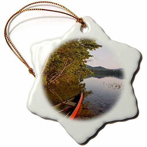 OneMtoss Danita Delimont Lakes Canoe, White Lake State Park, New Hampshire US JMO Jerry and Marcy Monkman Snowflake Porcelain Ornament