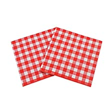 WallyE Picnic Napkins, Rustic Red Gingham Napkins, 20 Pack