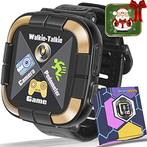 GBD 2018 New Kids Games Smart Watch Fitness Tracker [Walkie Talkie Pro ] for Boys Girls Christmas Birthday Gift Digital Watch with Pedometer Camera Electronic Learning Toy (Black)