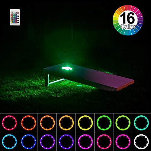 Heartbeats Cornhole Lights, LED Ring kit,16 Colors Multicolor Changing Type,Remote Control, Set of 2 pcs, Board Hole Lights, Toss Bean Bag Game Lights Backyard Board Game Lights,Tailgate Game,