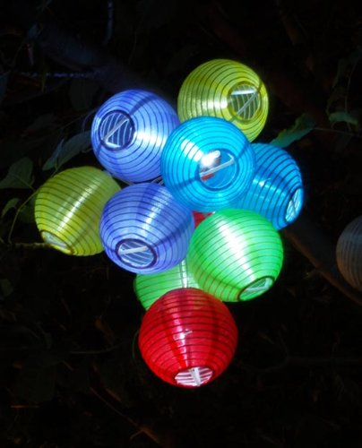 Solar Powered Party String Fairy Lights. 10 of 3″ Dia Color Lanterns.