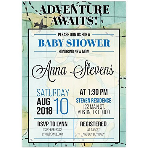 Map Adventure Baby Shower Party Invitations