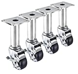Krowne Metal 28-117S Set of 4 Adjustable Height Plate Casters with Brakes, 3'' Diamter, 3.5'' x 3.5'' (8.5-10.5'' Height)