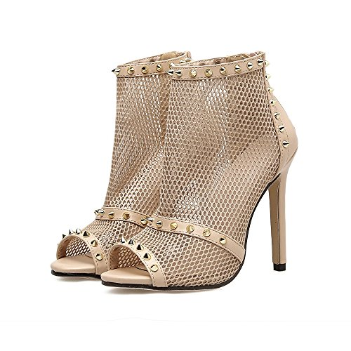 Stiletto Shoes Party amp; ShoesTulle Evening Rivets Wedding Club for Sexy B Heel Fall Summer Heels Shoes Women's x6OYwx