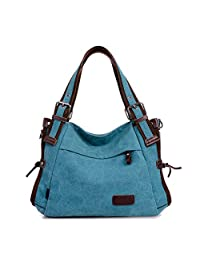 TianHengYi Vintage Women's Canvas Leather Hobo Tote Shoulder Bag Top-handle Handbag Cross Body Purse