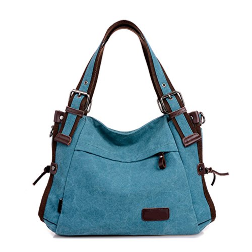 TianHengYi Vintage Women's Canvas Leather Hobo Tote Shoulder Bag Top-handle Handbag Cross Body Purse Blue by TianHengYi