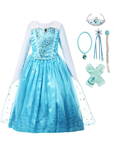 MUABABY Girls Ice Snow Queen Sequin Princess Upgrade Deluxe Costume Long Sleeve Elsa -
