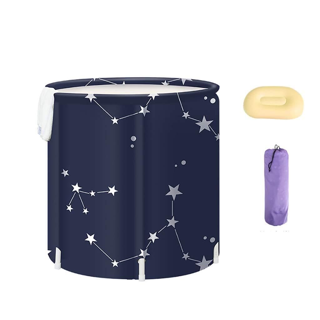 B Ladies Folding Bathtub, Bubble Bath, PVC Flower Bath, Thick Waterproof Hot Water Bath Keep Warm Lose Weight Home Spa Milk Tub 65×70cm (color   A)